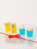 Kolorowy set napoje, koloru napój dekorował z wapno, kolor Zdjęcia Stock