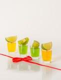 Kolorowy set napoje, koloru napój dekorował z wapno, kolor Fotografia Stock