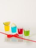 Kolorowy set napoje, koloru napój dekorował z wapno, kolor Obrazy Royalty Free