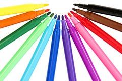 Kolorowy set Odczuwani pióra Fotografia Stock
