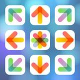 Kolorowy Strzałkowaty ikony mieszkania menu Obraz Stock