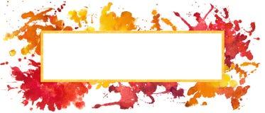 Kolorowy szablon z akwarelą bryzga, zaplamia, i plamy ilustracji