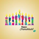 Kolorowy Szczęśliwy Hanukkah - Stylizowany menorah z kolorowymi świeczkami i Szczęśliwym Hanukkah tekstem Zdjęcia Royalty Free