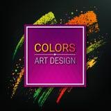 Kolorowy sztandar na ciemnym tle Wektorowa artystyczna rama dla teksta Dynamiczni muśnięć uderzenia Kreda kawałek rozbryzguje się ilustracji