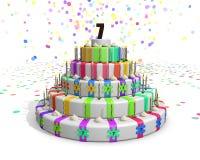 Kolorowy tęcza tort z dalej nakrywa czekoladową liczbę 7 Fotografia Royalty Free