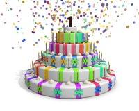 Kolorowy tęcza tort z dalej nakrywa czekoladową liczbę 1 Obraz Royalty Free