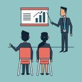 Kolorowy tło kierownictwa mężczyzna i kobieta w korporacyjnym biznesowym spotkaniu ilustracja wektor