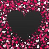 Kolorowy tło z Kierowymi confetti Walentynka dnia kartka z pozdrowieniami lub ślubny zaproszenia tła przyjęcia projekt Obrazy Stock