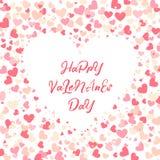 Kolorowy tło z Kierowymi confetti Walentynka dnia kartka z pozdrowieniami lub ślubny zaproszenie szablonu przyjęcia projekt Fotografia Royalty Free