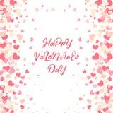 Kolorowy tło z Kierowymi confetti Walentynka dnia kartka z pozdrowieniami lub ślubny zaproszenie szablonu przyjęcia projekt Obrazy Stock