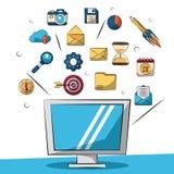 Kolorowy tło z lcd monitoru zbliżeniem i małe marketingowe ikony w tle ilustracji