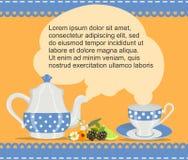 Kolorowy tło z teapot, filiżanka, owoc również zwrócić corel ilustracji wektora ilustracja wektor