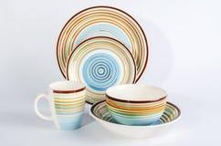 Kolorowy tableware na białym tle obrazy royalty free