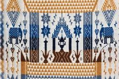 Kolorowy tajlandzki handcraft peruvian cutton stylu dywanika powierzchni zakończenie up Zdjęcia Royalty Free