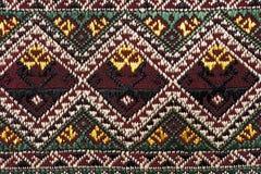 Kolorowy tajlandzki jedwab handcraft peruvian dywanika powierzchni stylowego zakończenie up Fotografia Royalty Free