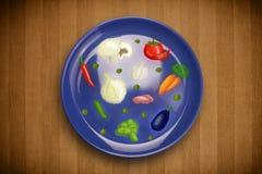 Kolorowy talerz z ikonami, symbolami, warzywami i fr ręki rysującymi, Obraz Stock