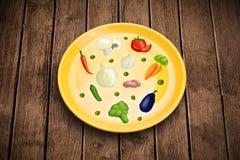 Kolorowy talerz z ikonami, symbolami, warzywami i fr ręki rysującymi, Zdjęcia Royalty Free