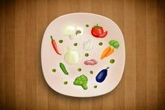 Kolorowy talerz z ikonami, symbolami, warzywami i fr ręki rysującymi, Obrazy Stock
