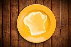Kolorowy talerz z ręka rysującym białym szefa kuchni symbolem Zdjęcie Stock
