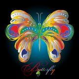 Kolorowy textured 3d motyl ilustracja wektor