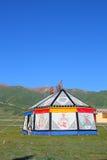 Kolorowy Tybetański namiot na Tybetańskim plateau Obraz Royalty Free
