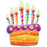 Kolorowy Urodzinowy tort z świeczkami ilustracja wektor