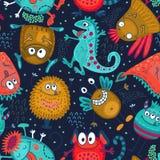 Kolorowy wektorowy bezszwowy wzór z śmiesznymi potworami royalty ilustracja