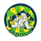 Kolorowy wektorowy illusnration z brazylijczyka Jiu Jitsu wojownikami Obrazy Stock