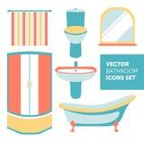 Kolorowy wektorowy ustawiający łazienek ikony w nowożytnym mieszkanie stylu Obrazy Royalty Free