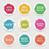 Kolorowy wektoru papieru okrąg, majcher, etykietka, sztandar z szczotkarskimi uderzeniami ilustracja wektor