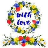 kolorowy wianek i girlanda dzicy kwiaty odizolowywający na białym tle z miłością royalty ilustracja