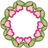 Kolorowy wianku plakat z serce liśćmi i roślinami Fotografia Stock