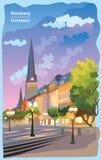 Kolorowy widok kościół w Hamburg ilustracji