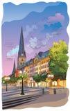 Kolorowy widok Kościelny Hauptkirche Sankt Petri w Hamburg ilustracja wektor