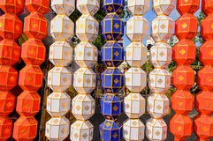 Kolorowy Wiszący Papierowy lampion w festiwalu Tajlandia Obrazy Royalty Free