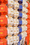 Kolorowy Wiszący Papierowy lampion w festiwalu Tajlandia Zdjęcie Stock