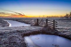 Kolorowy świt nad zima krajobrazem Fotografia Stock
