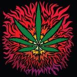 Kolorowy wizerunek marihuana w abstrakcjonistycznej sztuce projektuje royalty ilustracja