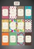 Kolorowy Wzorzysty Calendar-2017 Zdjęcie Stock
