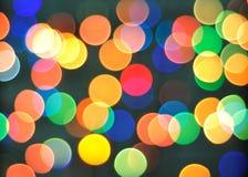 Kolorowy z ostrość okręgu świątecznych świateł Fotografia Royalty Free