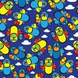 Kolorowy zabawkarski samolotowy bezszwowy wzór Zdjęcie Royalty Free