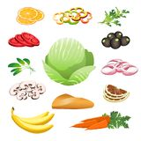 Kolorowy Zdrowy jedzenie set Zdjęcia Royalty Free