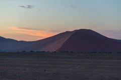 Kolorowy zmierzch nad Namib pustynią, Namibia, Afryka Sceniczne piasek diuny w backlight w Namib Naukluft parku narodowym, Swakop Obraz Stock