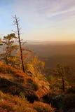 Kolorowy zmierzch w pięknej jesieni skalistym parku Bended drzewa na szczytach nad głęboka dolina Wieczór słońca pomarańczowi pro obrazy royalty free