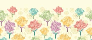 Kolorowych abstrakcjonistycznych drzew horyzontalny bezszwowy ilustracja wektor