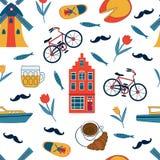 Kolorowych Amsterdam ikon bezszwowy wzór Fotografia Stock