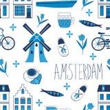 Kolorowych Amsterdam ikon bezszwowy wzór Zdjęcie Stock