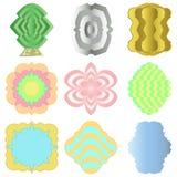 9 kolorowych etykietek w różnorodnych stylach royalty ilustracja