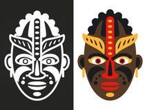 Kolorowych i białych afrykańskich plemiennych masek wektorowy projekt ilustracja wektor