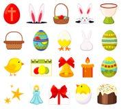 20 kolorowych kreskówki Easter elementów ustawiających royalty ilustracja